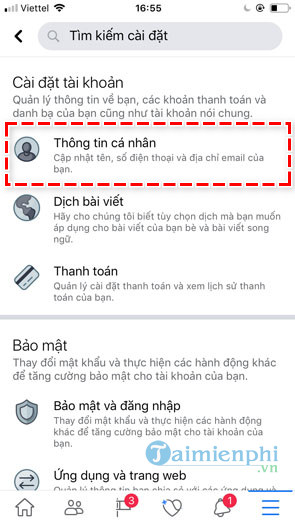 replace the name displayed on facebook ca nhan