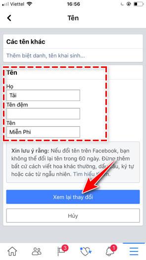 rename facebook by 5 lan