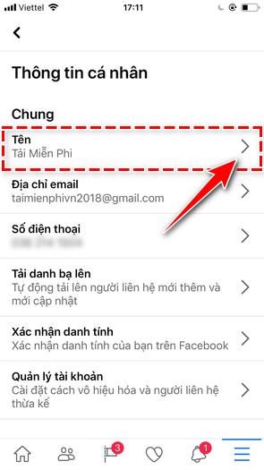 Register facebook name on iPhone