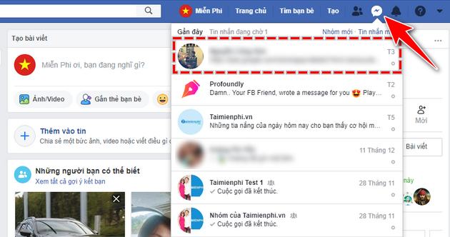 doi biet danh tren Facebook Messenger