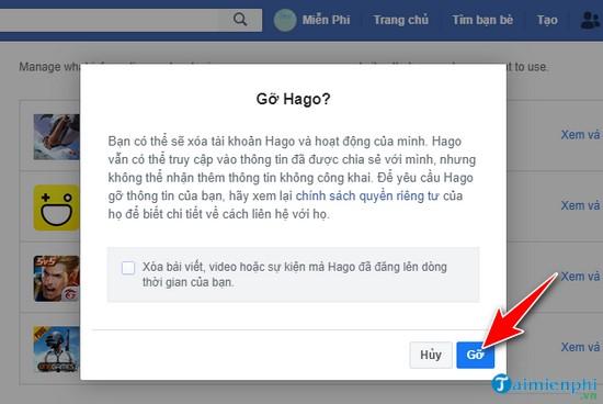 Facebook - Gỡ, loại bỏ ứng dụng trên Facebook