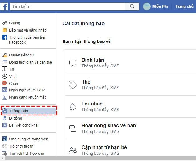 Hướng dẫn tắt âm thanh khi có thông báo mới trên Facebook