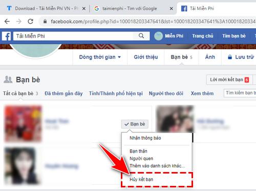 Hủy kết bạn trên Facebook