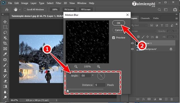 Cách tạo tuyết rơi trong Photoshop CC 2020