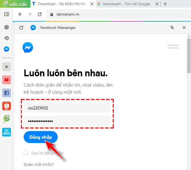 how to chat facebook messenger on coc's quick access bar 3