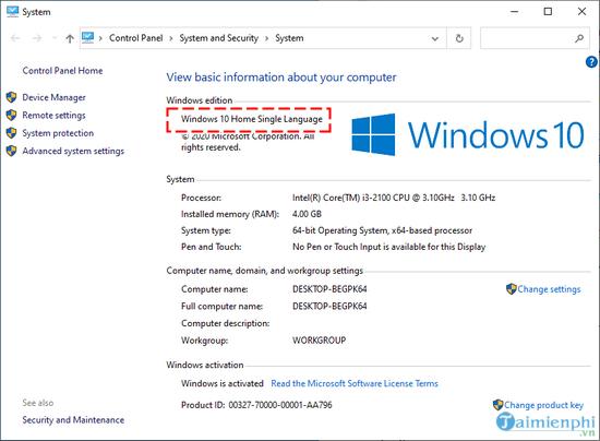 cach nhap key windows 10 ban quyen