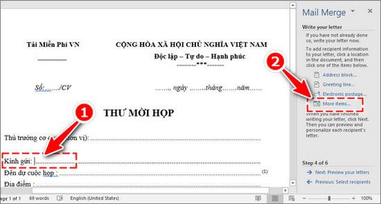 Cách trộn thư trong Word, trộn văn bản Word 11