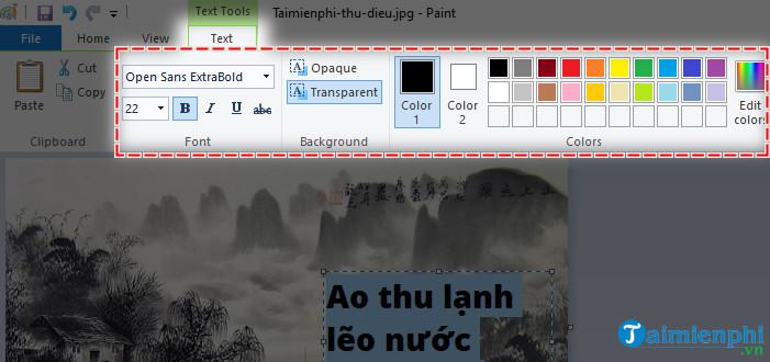 Cách chèn chữ vào ảnh bằng Paint trên máy tính