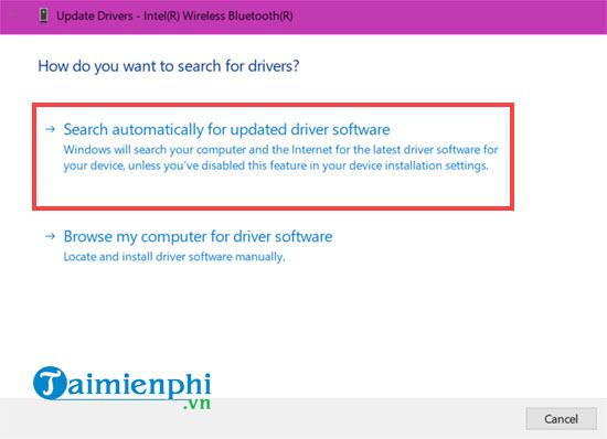 cach cap nhat driver bluetooth cho windows 10