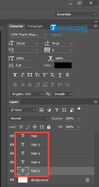 Cách làm chữ to dần, bé dần bằng Photoshop