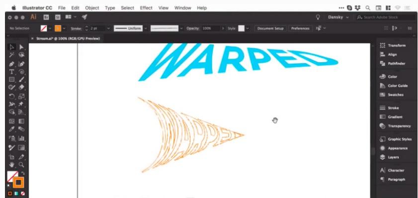 Cách Warp, uốn cong văn bản trong Adobe Illustrator