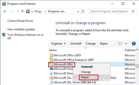 Sửa lỗi Excel bị treo, không phản hồi trên Windows 10 8