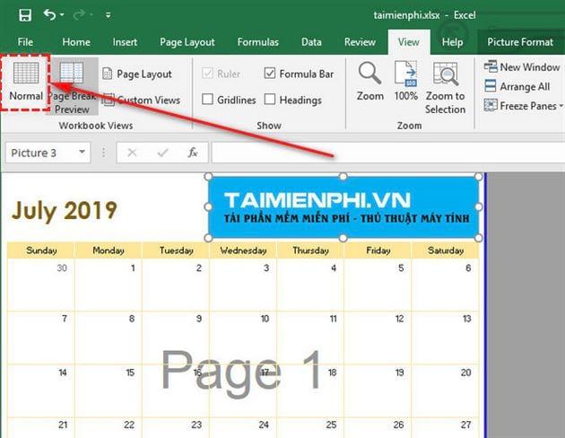 Hướng dẫn xóa chữ chìm, chữ Page 1, Page 2 trong Excel 2
