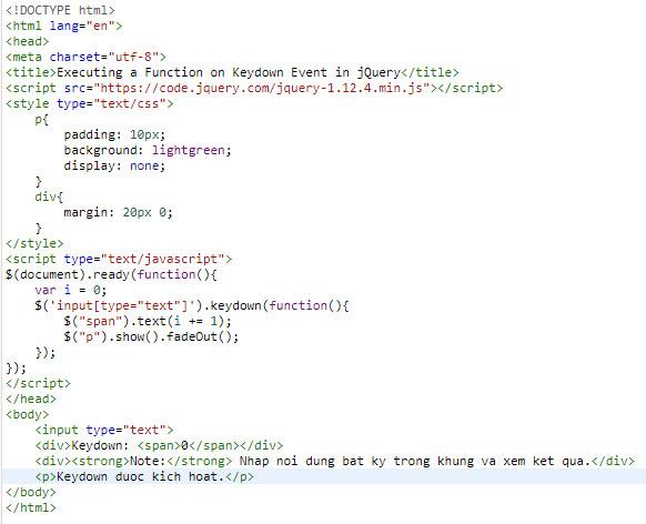 Sự kiện trong jQuery, tìm hiểu Mouse event, Keyboard Event