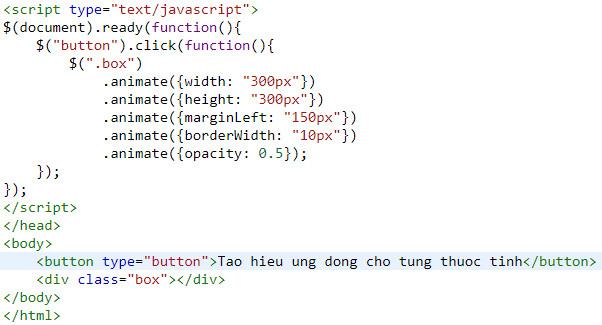 Hiệu ứng động trong jQuery, tìm hiểu về Animation jQuery, có