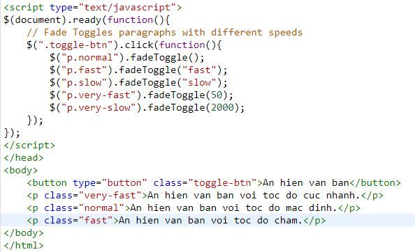 Hiệu ứng Fade in và Fade out trong jQuery, có ví dụ minh họa