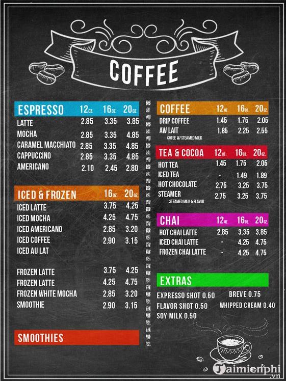 Mẫu menu cafe đẹp 10