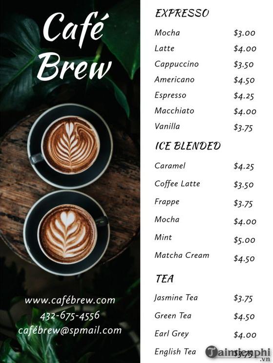 Mẫu menu cafe đẹp 15