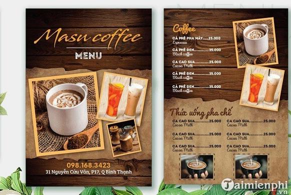Mẫu menu cafe đẹp 2