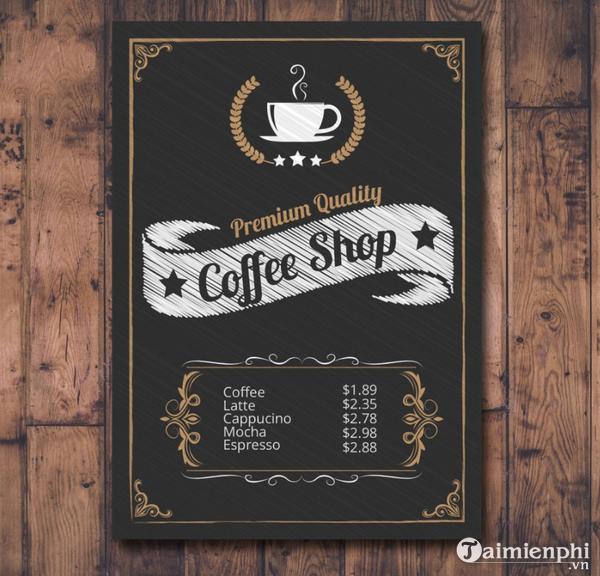 Mẫu menu cafe đẹp 3