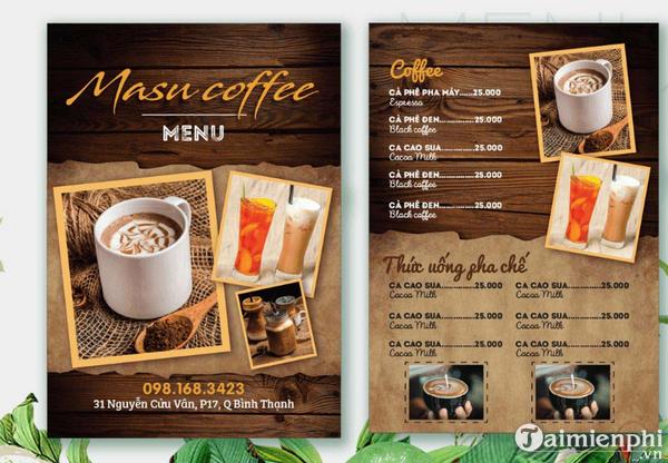 Mẫu menu cafe đẹp 5