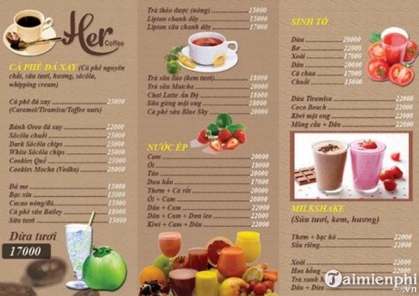 Mẫu menu cafe đẹp 8