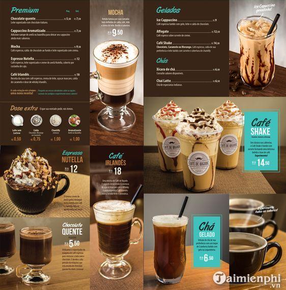 Mẫu menu cafe đẹp 9