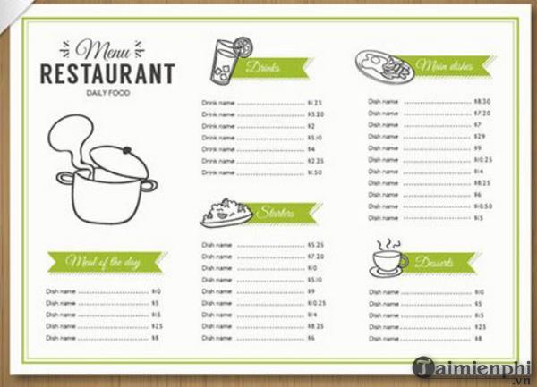 Mẫu menu thực đơn nhà hàng đẹp 8