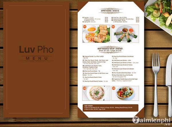 Mẫu menu thực đơn nhà hàng đẹp 4