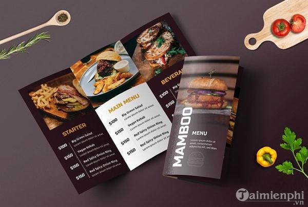 Mẫu menu thực đơn nhà hàng đẹp 2