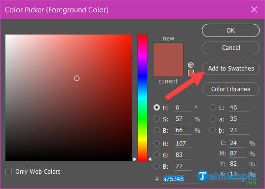 Cách lấy màu trong Photoshop, copy màu, lưu màu 11