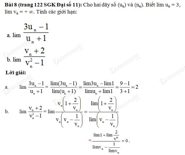 Giải Toán lớp 11 Bài 1, 2, 3, 4, 5, 6, 7, 8 trang 121, 122 SGK Đại Số - Giới hạn của dãy số