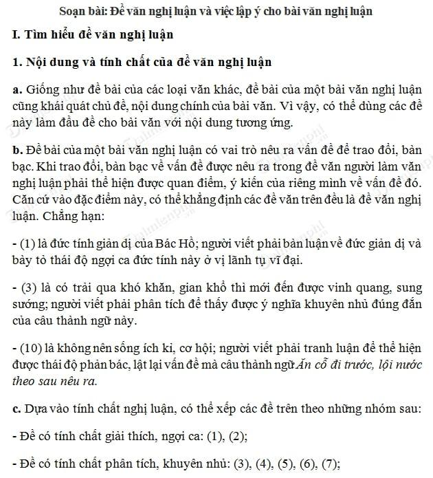 soan van nghi luan va viec lap y cho bai van nghi luan