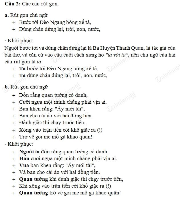 Soạn  bài Rút gọn câu, Ngữ văn lớp 7