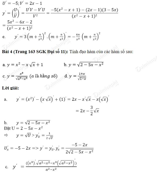 Giải toán lớp 11 Bài 1, 2, 3, 4, 5 trang 162, 163 SGK Đại Số - Quy tắc tính đạo hàm
