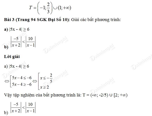 Giải bài tập trang 94 SGK Đại Số 10