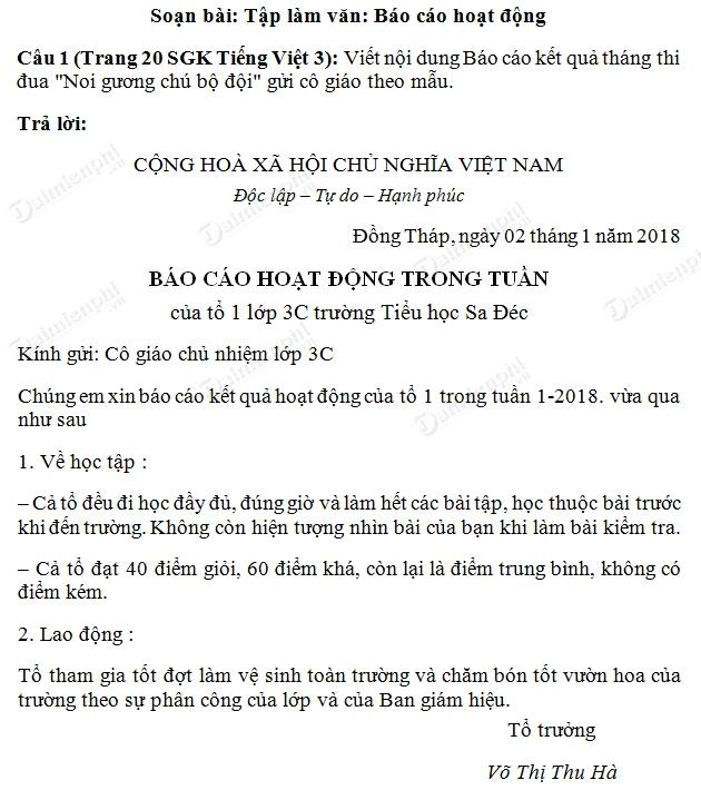 soan bai tap lam van bao cao hoat dong