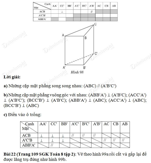 Giải bài tập trang 108, 109 SGK Toán 8 Tập 2