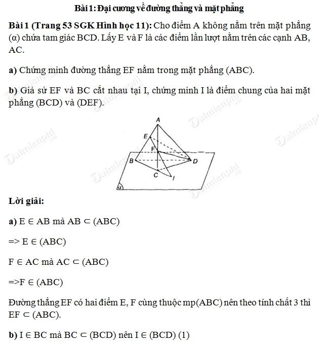 giải bài Đại cương về đường thẳng và mặt phẳng
