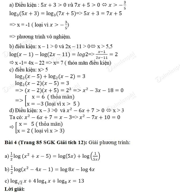 Giải bài tập trang 84, 85 SGK Giải Tích 12