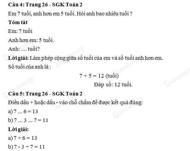 Giải bài tập trang 26 SGK toán 2