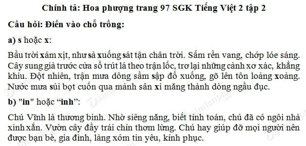soan bai chinh ta hoa phuong, nghe viet