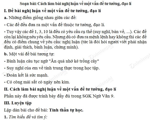 soan bai cach lam bai nghi luan ve mot van de tu tuong dao li soan van lop 9