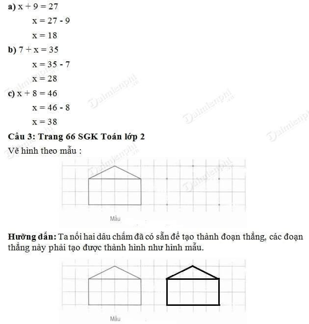 Giải bài tập trang 66 SGK toán 2