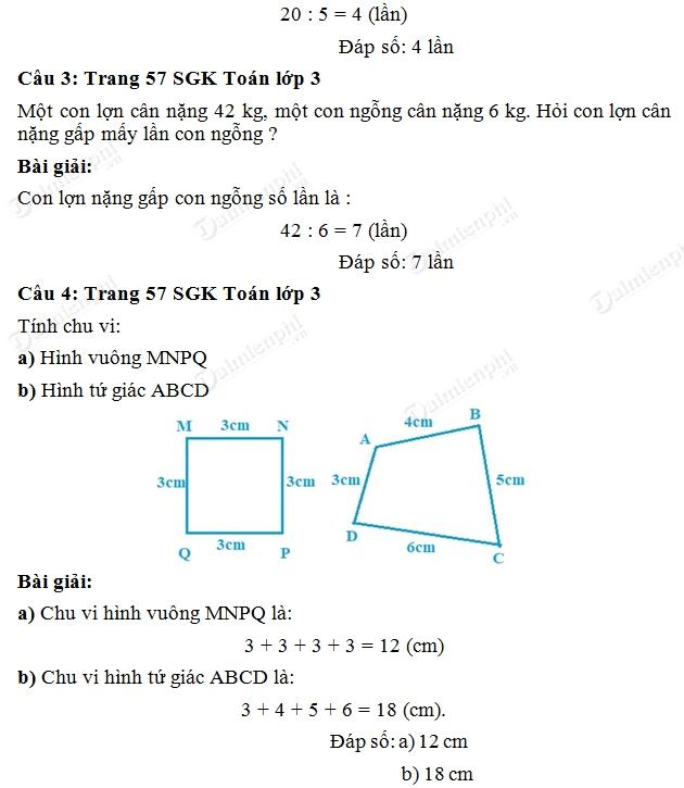 Giải bài tập trang 57 SGK toán 3