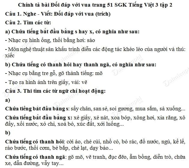 soan bai chinh ta doi dap voi vua, nghe viet