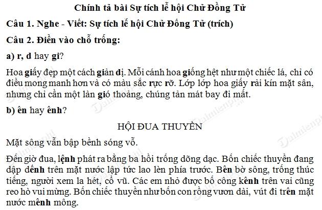 soan bai chinh ta nghe viet su tich le hoi chu dong tu