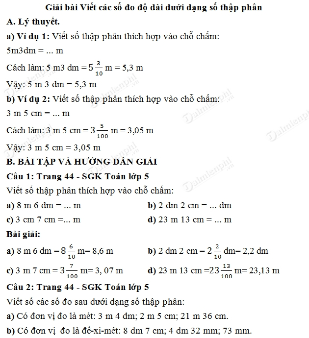 Giải bài tập trang 44 SGK toán 5