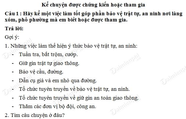 soan bai ke chuyen ke chuyen duoc chung kien hoac tham gia