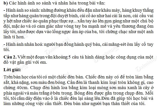 Soạn Tiếng Việt lớp 5 - Tập làm văn Ôn tập về tả đồ vật tiết 1 trang 63 SGK